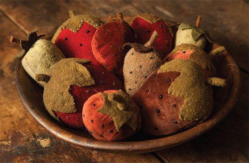 Pincushion Pattern  Strawberry Fields  Wool by FiddlestixDesign, $8.95