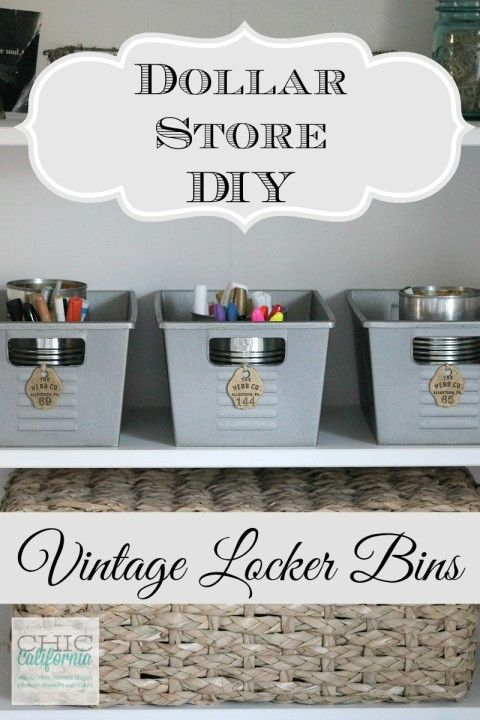 Dollar Store DIY: Vintage Locker Bins by Chic California - green, plastic Dollar Store bins spray painted metallic and dressed up. Well done and nice look on the cheap! Great for a boy's room!