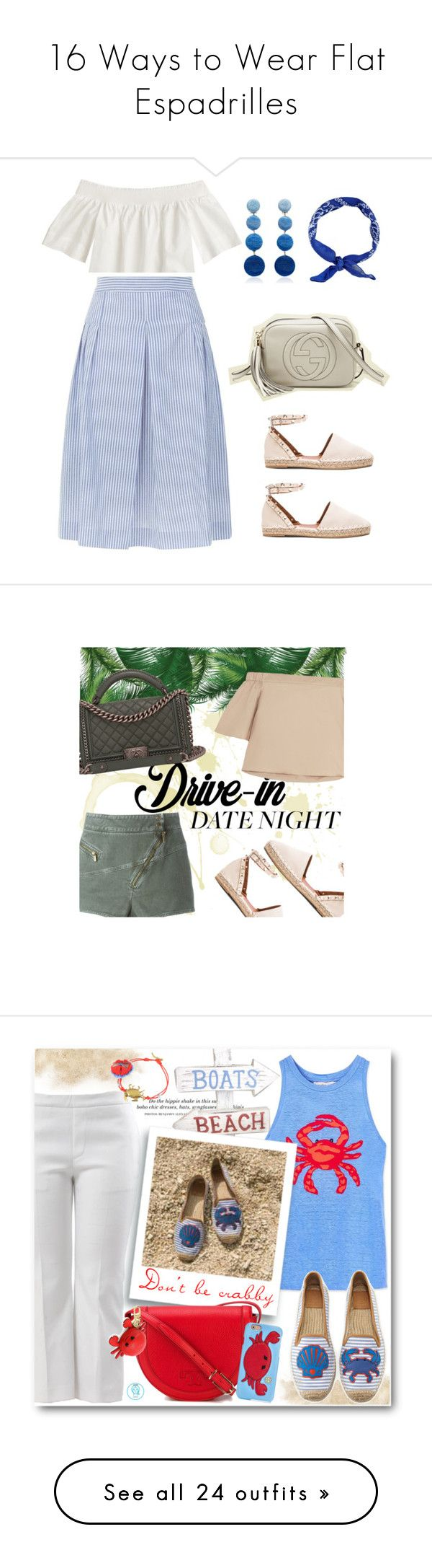 """""""16 Ways to Wear Flat Espadrilles"""" by polyvore-editorial ❤ liked on Polyvore featuring waystowear, flatespadrilles, J.Crew, Claudie Pierlot, Valentino, Gucci, New Look, Rebecca de Ravenel, TIBI and Roberto Cavalli"""