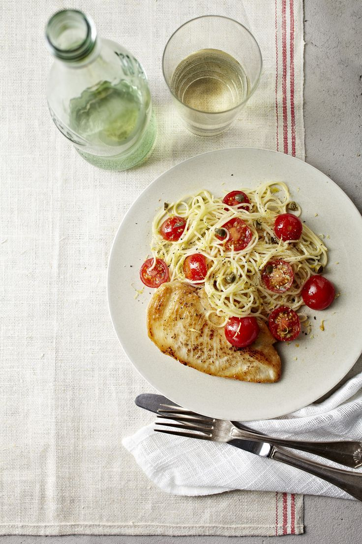 Lemony Angel Hair Pasta With Pan-Fried Chicken