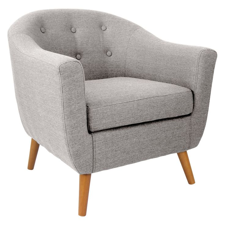 LumiSource CHR-AH-RKWL-LGY Rockwell Mid Century Modern Accent Chair in Light Grey