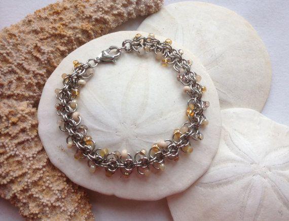 Seashell Inspired  Shimmer Bracelet Florence by JewelrybySacredArt, $45.00