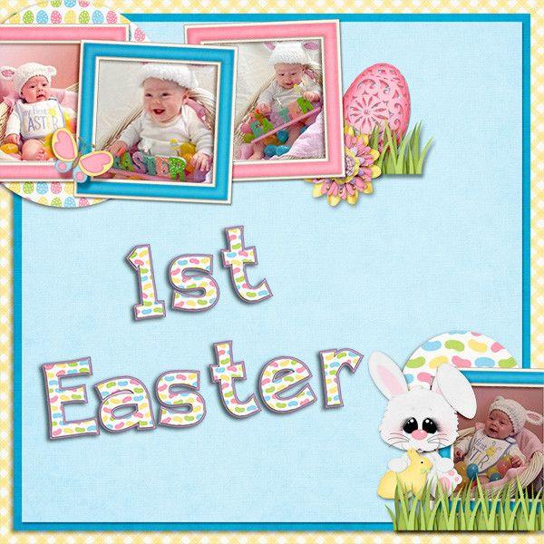 Layout using A Hoppy Easter Kit by KittenScraps