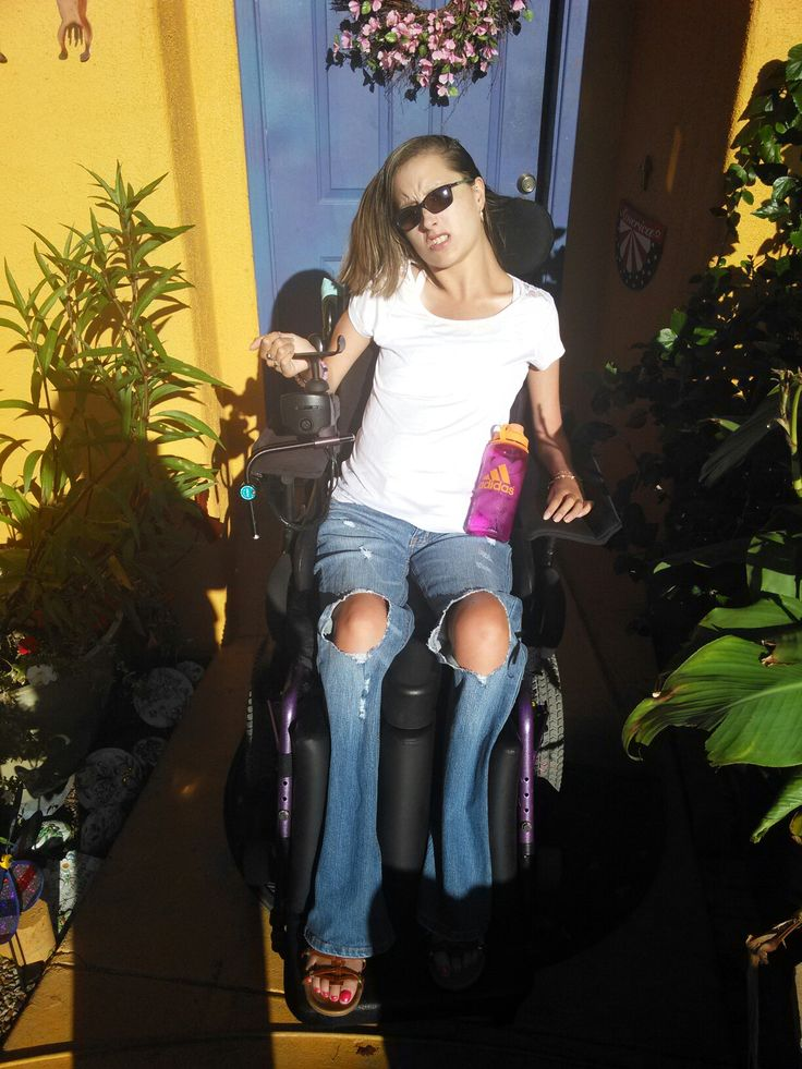 Model daughter first day of school 2016. Became quadriplegic since 10 from an accident. Brave beyond her years