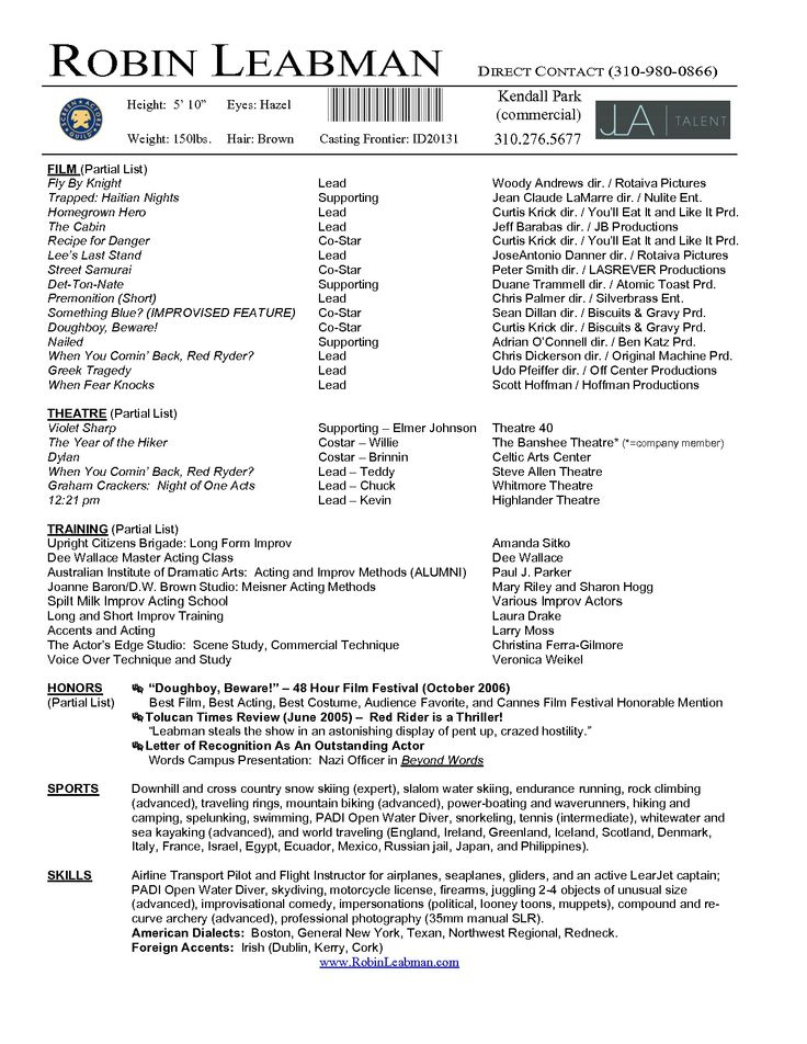 awesome brilliant acting resume template to get inspired - Film Resume Format