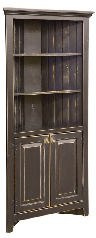 """Corner Cabinet is handmade by the Amish. Your piece will be built with Premium Grade Eastern White Pine wood. You will see some deformities and knots that come naturally with eastern pine. Measures: 35"""" W x 72"""" H x 13"""" D x 15"""" Wall Shown in Black"""