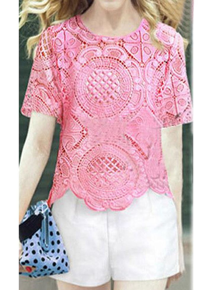 Pink Crochet Lace Scallop T-shirt With White Camisole And Shorts