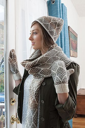 Ravelry: Honeycomb Scarf Toque and Mitts pattern by Carol Schoenfelder