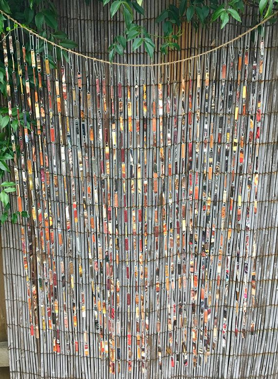 Caramel and Spice brown tones beaded Hippy curtain hand made