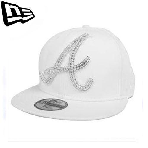 59FIFTY NEW ERA Atlanta Braves White Big One Iced Up Swarovski Collabo Limited #Fashion #Style #Deal