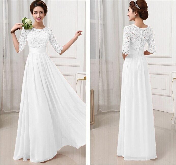 Promotion 5 Color Lady Elegant Ball Gown Lace Chiffon Draped Gauze Maxi Dress Georgette Wedding Prom Special Occasion Dress 2015-in Dresses from Women's Clothing & Accessories on Aliexpress.com   Alibaba Group