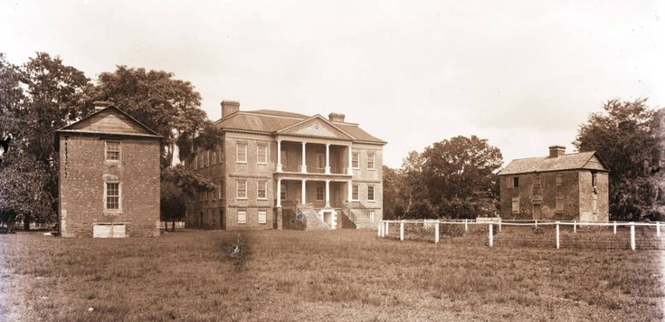 "coleoftheforest: "" John Drayton (architect unknown). Drayton Hall, c. 1750. The west elevation. Ph.: George LaGrange Cook, c. 1890. The twin outbuildings (laundry and kitchen) have not survived. """