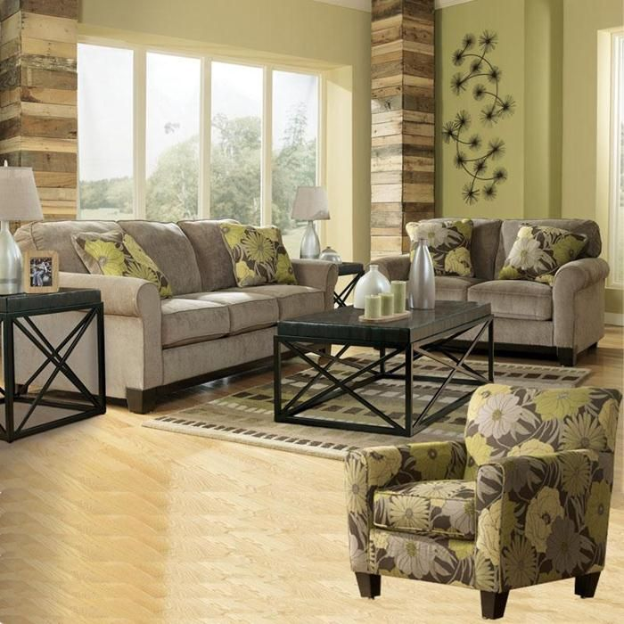 3 Piece Riley Slate Fabric Room Set