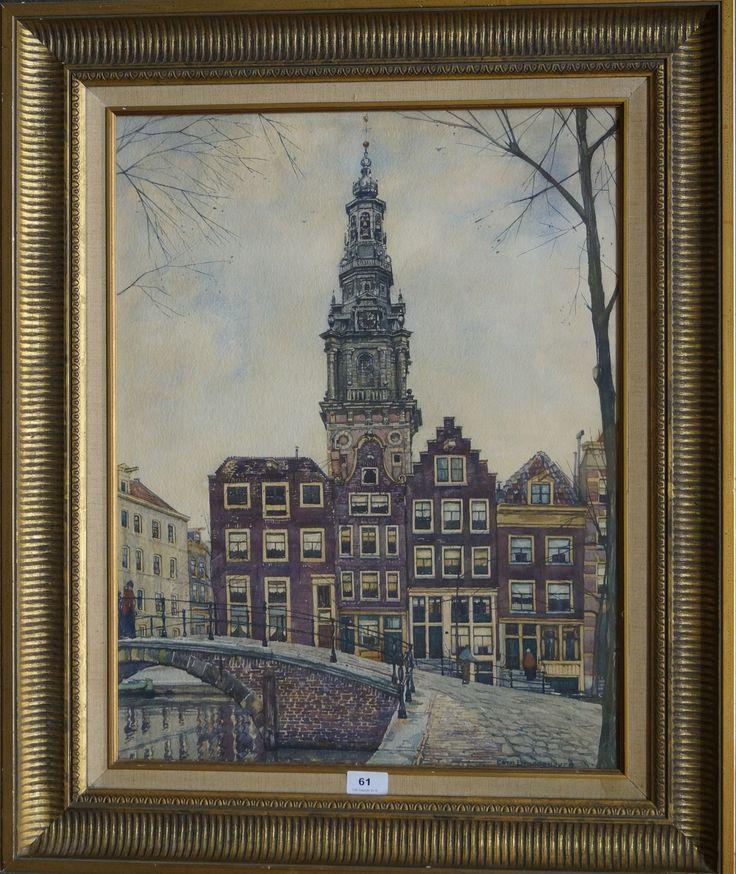 Cornelis Brandenburg (1884-1954), r.o. gesigneerd, aquarel, gezicht op de westerkerk te Amsterdam, 62 x 48 cm.