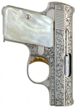 Factory Nickel Baby Browning with Browning Factory Engraving, Pearl Grips and Gold Trigger - .25 ACP