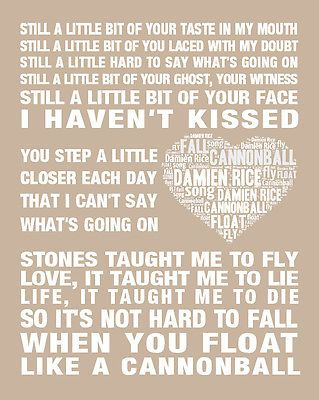 Damien Rice Cannonball Music Love Song Lyric Print Poster Art Wedding Gift 3