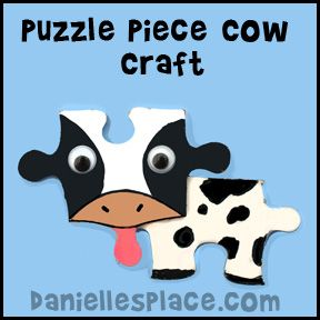 puzzle arts and crafts | paper plate craft cow magnet or pin puzzle piece craft