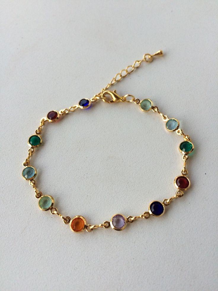 Gold bracelet pulseira colorida