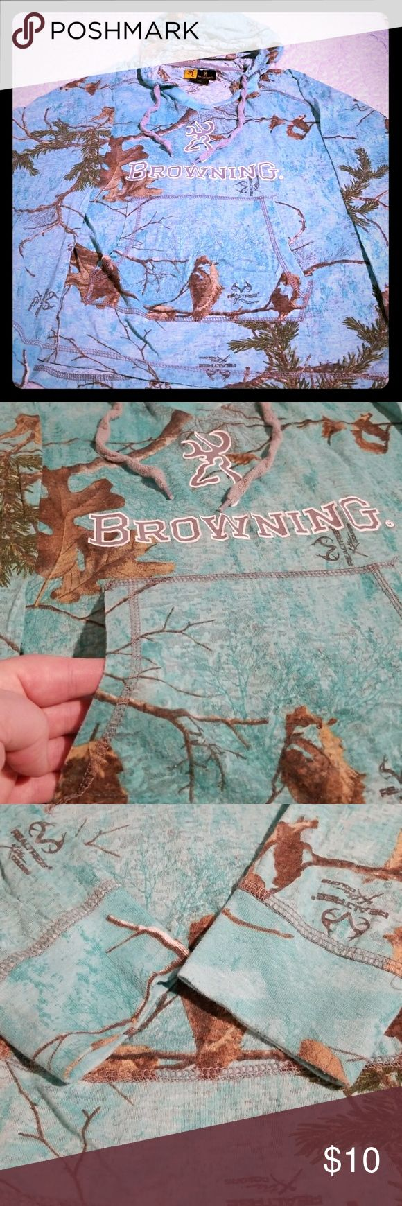 BROWNING BLUE CAMO LONG SLEEVE In excellent condition with no rips, holes or stains. Browning Tops Tees - Long Sleeve