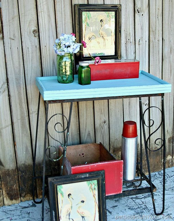salvaged wood table top and aquarium stand painted Roanoake Rain color Black Dog Salvage Furniture Paint 3