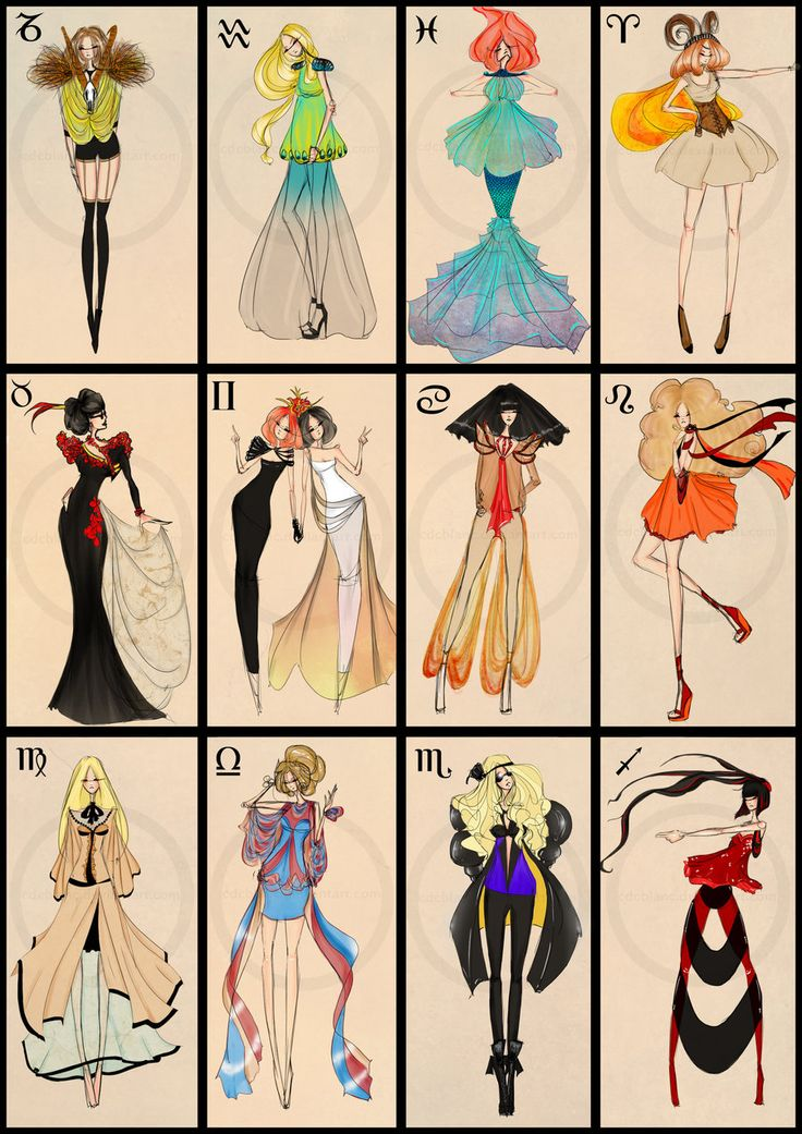 Zodiac Fashion By CdClanc on deviantART (from left to right)  1. Capricorn - Goat  2. Aquarius - Water Bearer  3. Pisces - Fishes  4. Aries - Ram  5. Taurus - Bull  6. Gemini - Twins  7. Cancer - Crab  8. Leo - Lion  9. Virgo - Virgin  10. Libra - Scales  11. Scorpio - Scorpion  12. Sagittarius - Archer