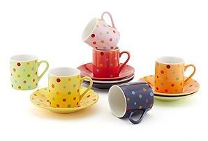 Polka Dots Cups & Saucers, Asst. of 6