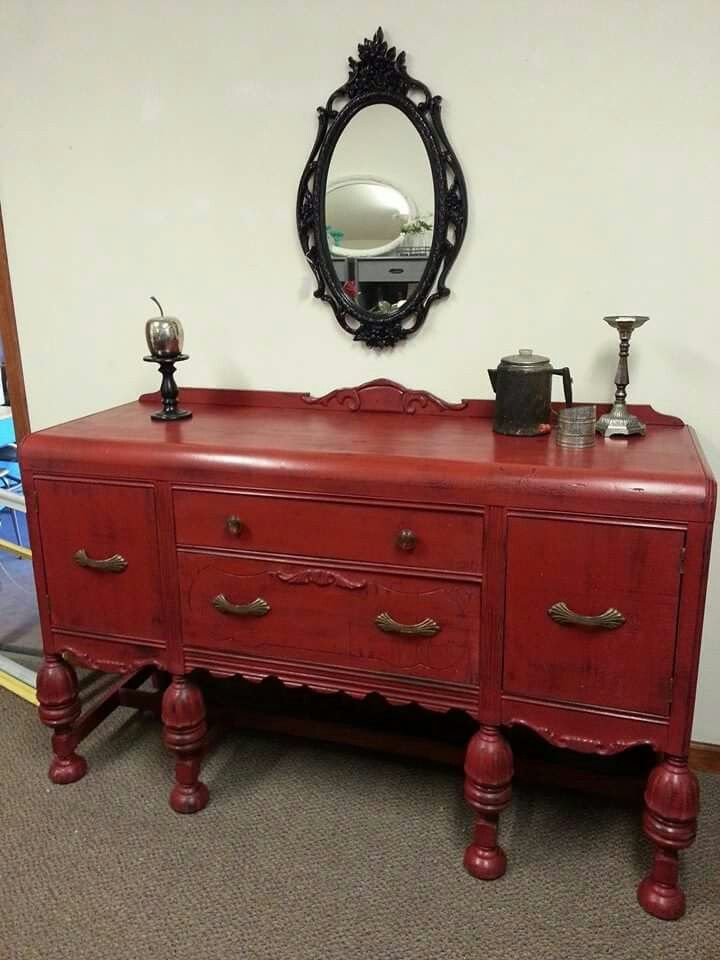 Antique Waterfall Style Buffet With Original Hardware In A