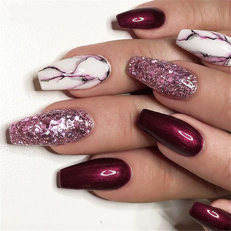 Elegant Purple Glitter Coffin Nails For Summer – Nail art