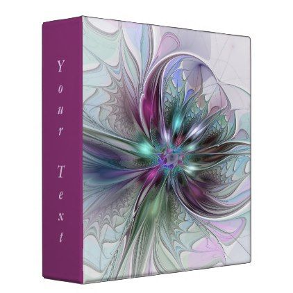 Colorful Fantasy Abstract Modern Flower Text Binder - home gifts ideas decor special unique custom individual customized individualized
