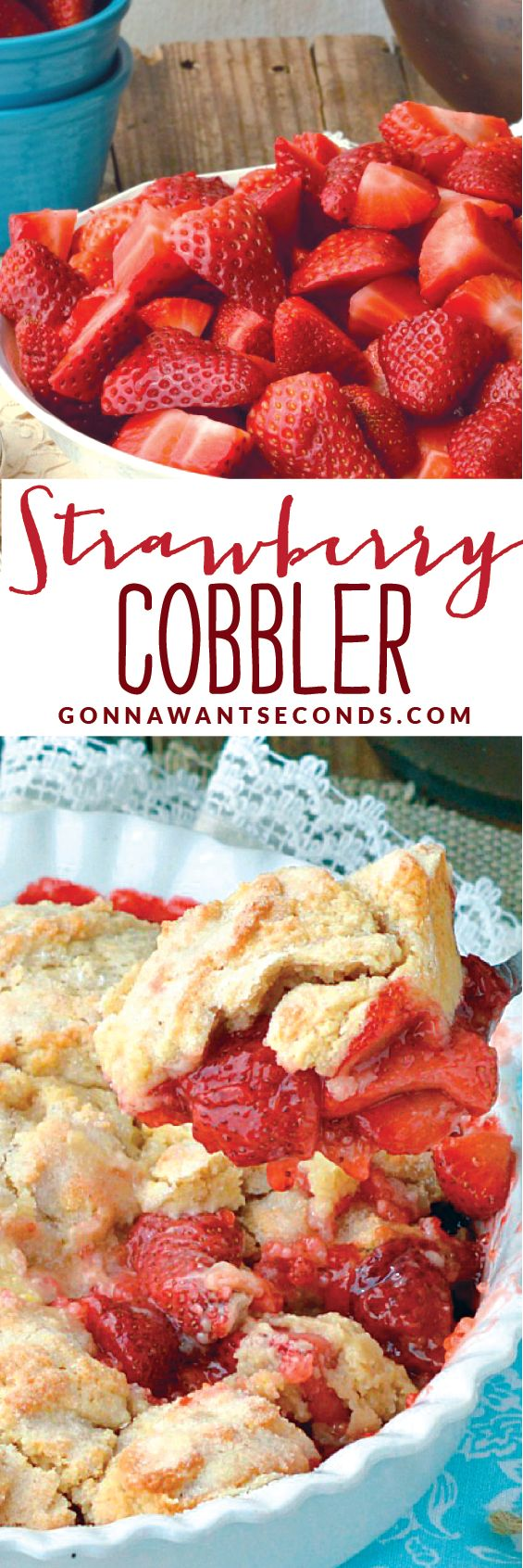 Strawberry Cobbler~A delicious cobbler made with fresh strawberries crowned with a cakey topping that has a lovely hint of lemon flavor. Easy and quick to put together.