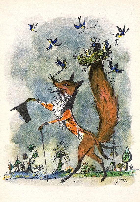 "Original book illustration - A4 matted - ""Roguishness Fox Vitalis"" - children's…"