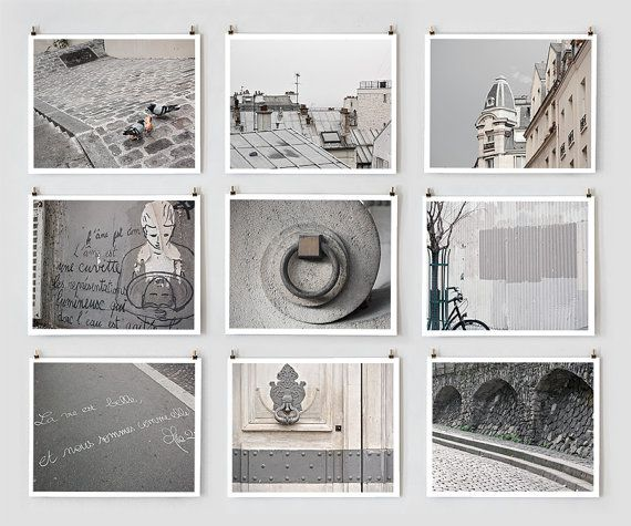 PARIS PHOTOGRAPHY COLLECTION: PARIS IN GRAY This set of nine Paris prints celebrates the city's intimate details, often overshadowed by iconic