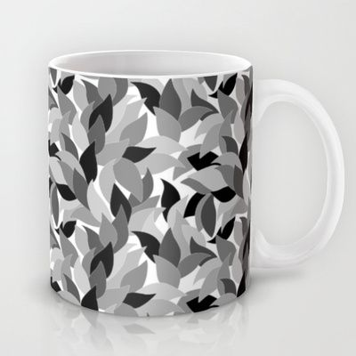 My grey leaves.  Mug by Juliagrifol designs - $15.00. mug #coffee #kitchen #black and white #design # pattern #leaves #society6