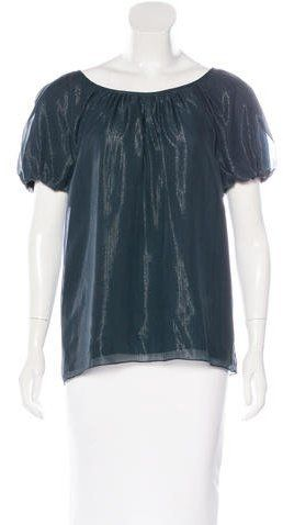 Tibi Metallic Short Sleeve Top