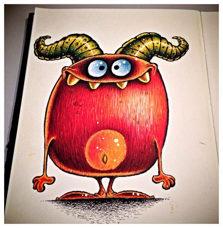 Monster doodle in sketchbook