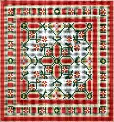 Canvas Works  Aztec Insert - persimmon, green ( PO47A-INSERT )  8.0 w x 8.0 h inches  13 count canvas  Price: $146.00