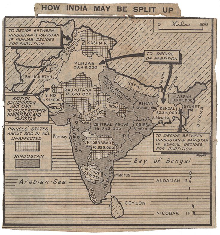 A map speculating on a possible division of India from the Daily Herald newspaper, 4 June 1947 Catalogue reference CAB 21/2038 Education | Education | Topics | The Road to Partition