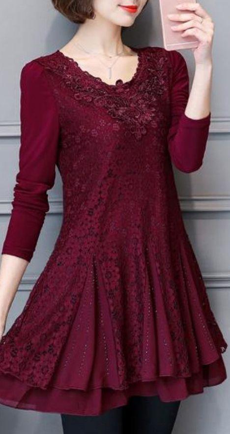 cute fashion burgundy lace dresses plus size patchwork hollow out elegant dress