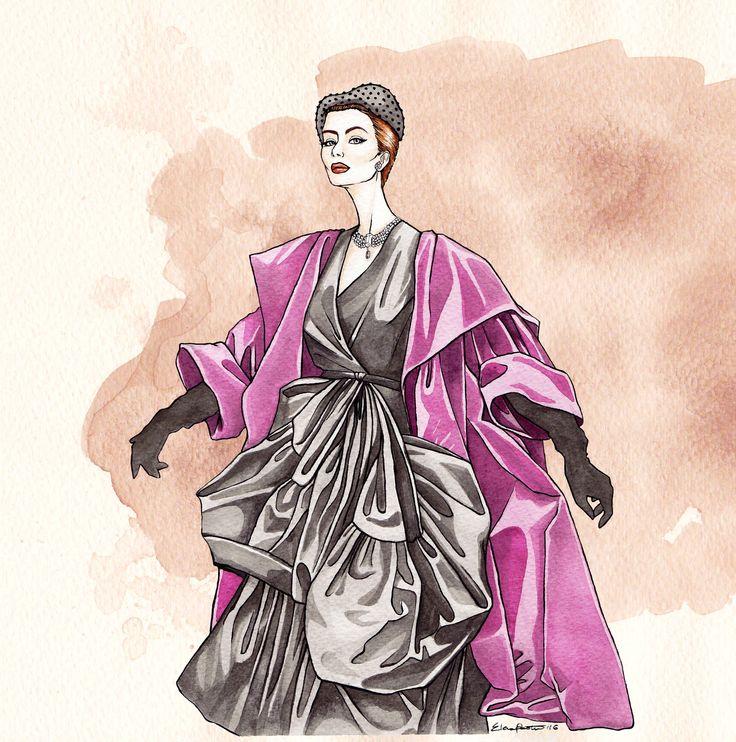 Balenciaga 1951 | elenapaoletti_illustrations | watercolor