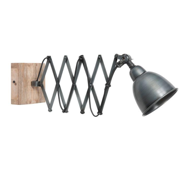 Grijze LORIENT uittrekbare metalen wandlamp H 13 cm
