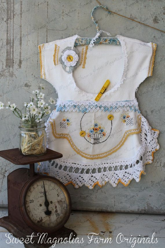 Clothespin Bag Vintage Style Dress  Made with Vintage Doilies and Crochet Lace Trims a One of a Kind by SweetMagnoliasFarm, SOLD  to a Good Home !