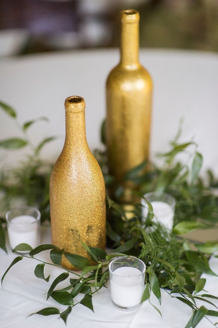 Gold and Greenery wedding centerpieces