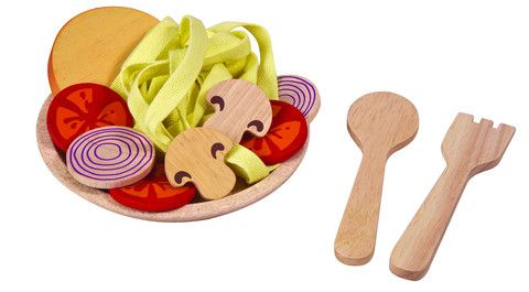Pretend pasta dish with wooden veg and laces for spaghetti. Eco friendly too! £11.95, www.oatesandco.com.