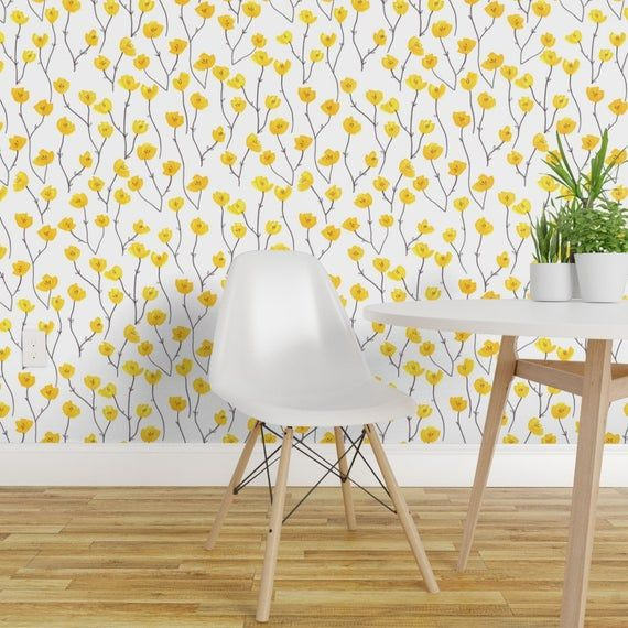 Retro Yellow Flowers Wallpaper Buttercup Field By Jo Clark Etsy Accent Wall Decor Floral Wallpaper