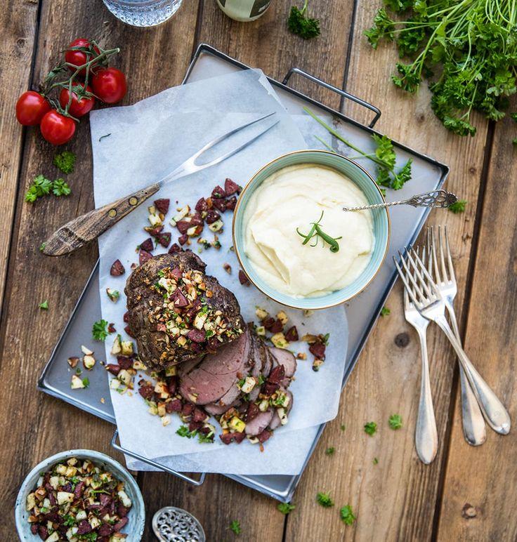 Söndagsstek med gräddsås och potatispuré