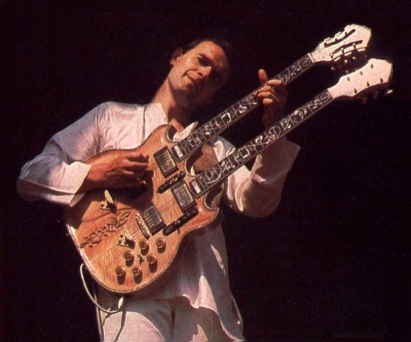 John McLaughlin with his custom double-neck: Master of Jazz, Fusion,  Classical