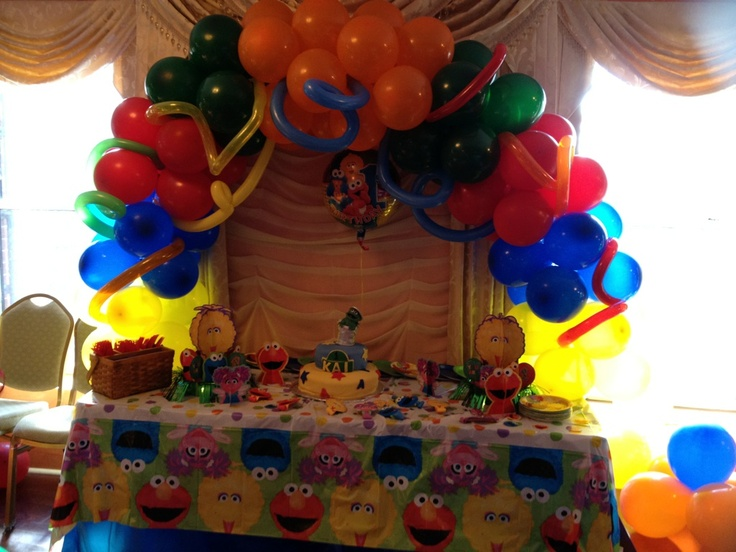 Sesame Street Cake Table Set Up Complete With Centerpiece