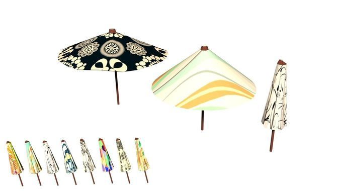 Parasol Umbrella Pack Rigged Animated Low Poly PBR   3D model   3D