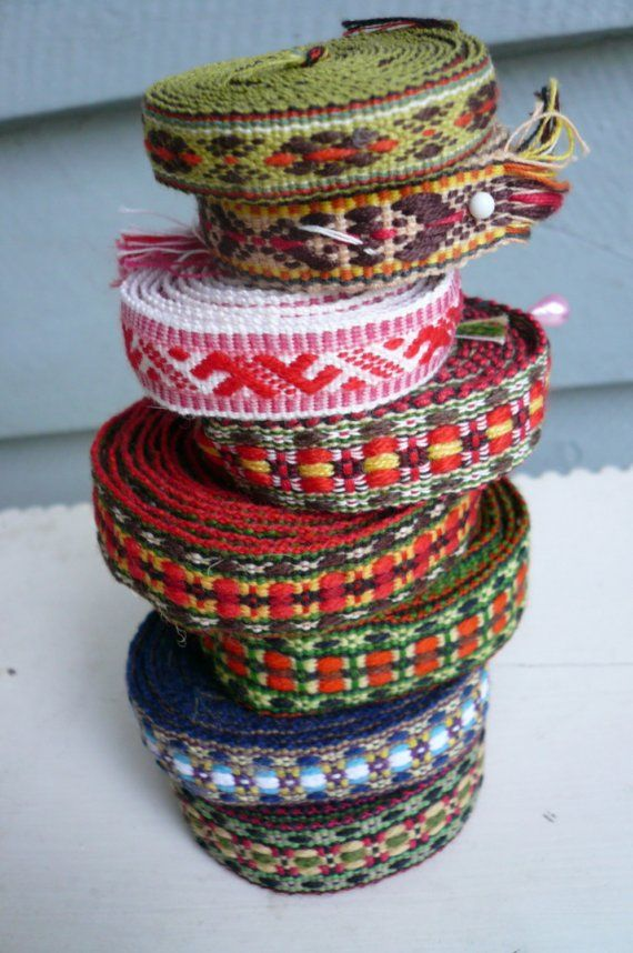 RESERVED FOR MERRI Vintage Latvian Woven Ribbon by LunaParkVintage