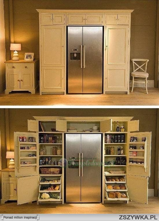 Pantry with Fridge. Might need to build this for the house